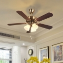 Traditional Flower Pull Chain Hanging Fan Light 42.5