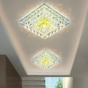 Modernist LED Flush-Mount Light Fixture Mirrored Tiered Square Ceiling Lamp with Clear Crystal Shade, Warm/White Light/Third Gear
