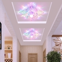 Small/Large Square Hotel Ceiling Lighting Clear Crystal Minimalist LED Flush Mount Lamp in Warm/White/Multi-Color Light
