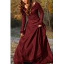 Renaissance Girls Dress Plain Long Sleeve Round Neck Long A-line Dress