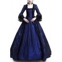 Medieval Dress Lace Patched Bell Long Sleeve Square Neck Maxi Pleated Swing Dress