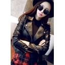 Chic Girls Leather Jacket Long Sleeve Notched Collar Zip Up Regular Jacket in Black