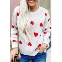 Womens Stylish Red Heart Printed Long Sleeve Crew Neck Loose Fit White Pullover Sweater Knitwear