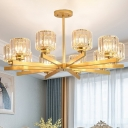 Black/Gold Radial Pendant Light Fixture Postmodern 6/8/10 Heads Crystal Chandelier for Bedroom