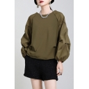 Fancy Women's Blouse Solid Color Round Neck Long Bishop Sleeves Regular Fitted Shirt Blouse