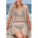 Unique Womens Dress Solid Color Waist Controlled Open-Knit V Neck Short Sleeve Regular Fitted Mini Beach Cover up Dress