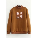 Trendy Women's Sweatshirt Paws Embroidered Ribbed Trim Crew Neck Long Sleeves Regular Fitted Sweatshirt