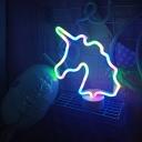 Cartoon Unicorn Night Table Lamp Plastic Bedside LED Battery Nightstand Light in Pink/Multi-Color Light