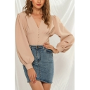 Leisure Women's Blouse Solid Color Button Detail Pleated Detail Long Puff Sleeves V Neck Regular Fitted Blouse Shirt