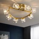 Crystal Cubic Ceiling Flush Light Post-Modern 2/5/8 Lights Corridor Semi Flush Mount Lamp in Antiqued Gold