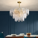 Postmodern 2/3/4 Tiers Chandelier 6/12/16-Light Clear Carved Glass Ceiling Pendant Light in Gold