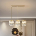 Cylinder Cluster Pendant Light Modern Crystal Prism 3 Bulbs Brass Ceiling Hang Lamp with Round/Linear Canopy
