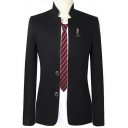 Chinese Style Mens Plain Stand Collar Long Sleeve Double Button Front Patched Slim Fit Suit Blazer
