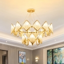 10/20 Lights Beaded Crystal Chandelier Postmodern Gold 1/2 Tiered Living Room Ceiling Hang Light