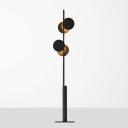 Metal Circle Standing Floor Lamp Postmodernist 2-Light Black Floor Light for Living Room