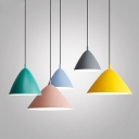 Conical Iron Pendant Lighting Macaron 1 Head Green Suspension Light over Table, Small/Medium/Large