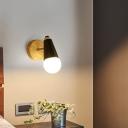 Bare Bulb Design Wall Light Macaron Metal 1 Bulb Pink/Black/Green Swivelable Wall Mount Lamp with Conical Socket