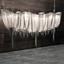 Silver/Gold Boat Shaped Chandelier Modern Aluminum Chain LED Hanging Ceiling Light with Fringe