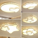 Nordic LED Flush Mount Lamp White Loving Heart/Cloud/Star Ceiling Light Fixture with Clear Crystal Shade