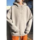 Leisure Men's Hoodie Solid Color 1/4 Zip Collar Ribbed Trim Long Sleeves Cowl Neck Hooded Sweatshirt