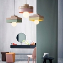 2-Tiered Square/Round Pendulum Light Macaron Wood Single-Bulb Dining Room Drop Pendant in White/Pink/Yellow