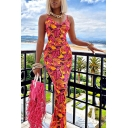 Resort Style Women's Maxi Dress All over Leaf Printed Spaghetti Strap V Neck Sleeveless Slim Fitted Long Bodycon Dress
