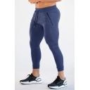 Fancy Mens Pants Solid Color Zip Pocket Elastic Drawsting Waist 7/8 Length Skinny Training Pants