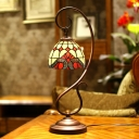 Tiffany Scroll Arm Table Light 1 Bulb Metal Night Lamp with Bowl Stained Glass Shade in Red