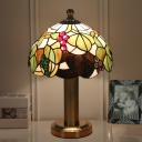 1-Light Bedside Table Light Tiffany Green Nightstand Lamp with Grape and Leaf Stained Glass Shade