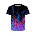 Fancy Men's Tee Top Fire 3D Print Crew Neck Short-sleeved Regular Fitted T-Shirt