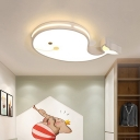 Kids Bedroom LED Flush Mount Light Cartoon White Ceiling Lamp with Piglet/Whale/Duck Acrylic Shade