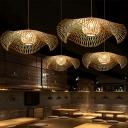 Ruffle Restaurant Pendant Lighting Bamboo 1 Head Contemporary Ceiling Hang Light in Wood, Small/Medium/Large