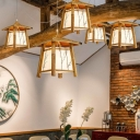 Temple Shaped Restaurant Hanging Lamp Bamboo 1 Bulb Japanese Style Ceiling Pendant Light in Wood