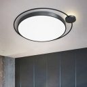 Nordic Orbit Flush-Mount Light Acrylic Bedroom LED Ceiling Light Fixture in Black