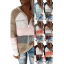 Leisure Womens Cardigan Knitted Contrasted Long Sleeve Hooded Zip Up Relaxed Fit Cardigan