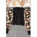 Fashion Ladies Blouse Patched Knit Flower Printed Long Sleeve Crew Neck Fitted Blouse Top