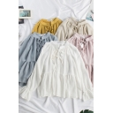 Pretty Womens Blouse Solid Color Long Sleeve Tied Neck Ruffled Relaxed Fit Blouse Top