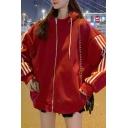 Stylish Women's Jacket Three Stripe Pattern Side Pocket Stand Collar Long Sleeves Zip Closure Drawstring Hooded Jacket
