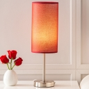 Hand-Worked Fabric Pipe Shaped Night Light Modern 1 Head Red Table Lamp for Bedroom