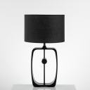 Black Cylindrical Nightstand Lamp Nordic 1-Light Fabric Table Light with Open Base