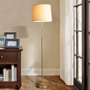 Height Adjustable Fabric Bucket Floor Light Minimalist Single Bedroom Floor Lamp in Gold