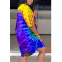 Casual Womens Dress Tie Dye Print Short Sleeve Crew Neck Short Oversize Dress