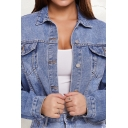 Girls Fashion Jacket Long Sleeve Spread Collar Button Up Relaxed Crop Denim Jacket in Blue
