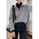 Leisure Women's Shirt Blouse Stripe Pattern Button Fly Chest Pocket Long Sleeves Regular Fitted Shirt Blouse