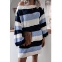 Girls Trendy Dress Stripe Print Long Sleeve Boat Neck Knitted Short Shift Sweater Dress