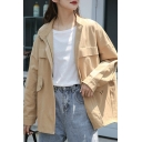 Casual Womens Jacket Solid Color Long Sleeve Stand Collar Button Up Flap Pockets Loose Fit Jacket