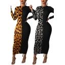 Fancy Women's Bodycon Dress Contrast Panel Leopard Stripe Round Neck Long Sleeves Maxi Bodycon Dress