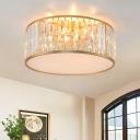 Black/Gold Finish Drum Ceiling Mount Lamp Minimalist 4/5 Bulbs Crystal Prism Flushmount Light, 15.5