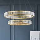 Modern Luxe 1/2/3-Tier LED Chandelier Pendant Clear Crystal Dining Room Hanging Lamp in Silver/Gold, 15.5