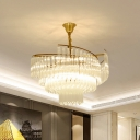 Multi-Tier Bedroom Chandelier X-Cut Crystal 8/10/12-Head Postmodern Hanging Light Fixture in Gold, 23.5